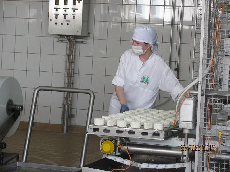 Pracownik twarożkarni przy produkcji klinków 250g.